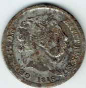 George III, One Shilling 1816, Contemporary Forgery, Fair, M9803